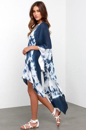 Gentle Fawn Stone Navy Blue Tie-Dye Kimono at Lulus.com!