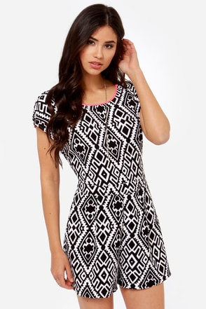 Pitter Pattern Ivory and Black Print Romper