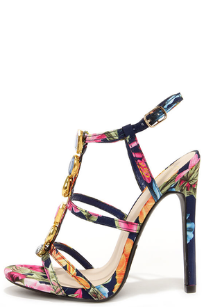 Island Print-cess Navy Floral Rhinestone Dress Sandals at Lulus.com!