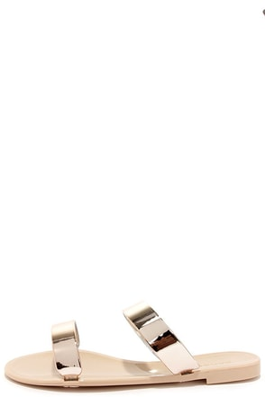 Jell Break Silver Jelly Slide Sandals at Lulus.com!