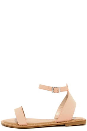 Keep It Sweet Peach Nubuck Ankle Strap Sandals at Lulus.com!