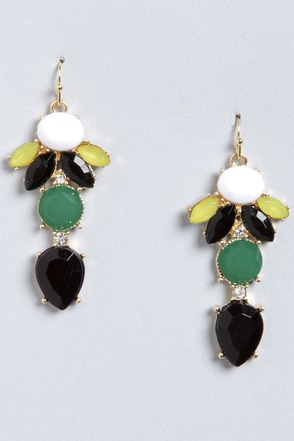 Golly Glee Black Rhinestone Earrings