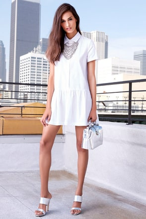 Drop of the Hour White Shirt Dress at Lulus.com!