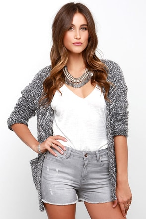 I Know a Shortcut Distressed Grey Jean Shorts at Lulus.com!