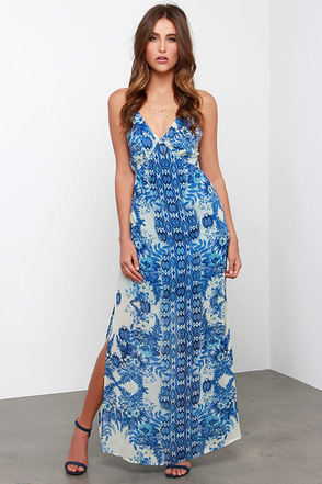 Ikat-itude Adjustment Blue Print Maxi Dress at Lulus.com!