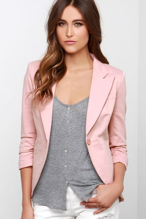 What a Little Ruche Can Do Blush Pink Blazer at Lulus.com!
