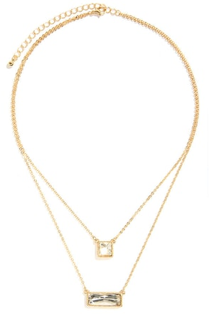 Breath of Fresh Layer Gold Rhinestone Necklace