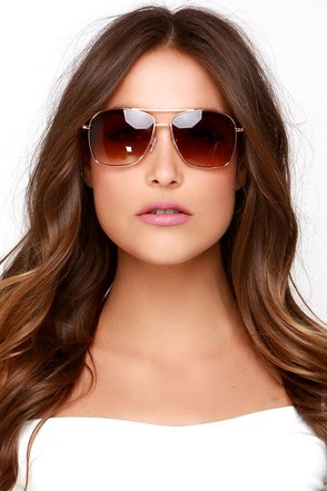 Mission Rose Gold Sunglasses at Lulus.com!