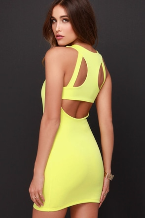 Bright to Party Chartreuse Bodycon Dress at Lulus.com!