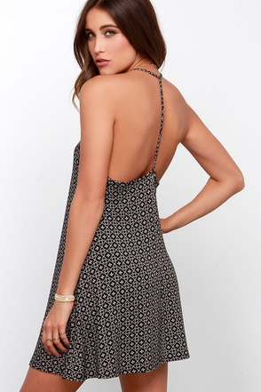 What a Doozy Cream and Black Print Dress at Lulus.com!