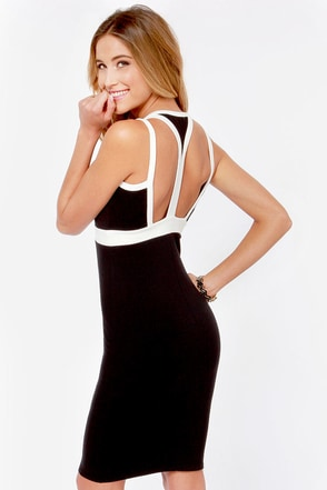 Join the Club Ivory and Black Cutout Dress