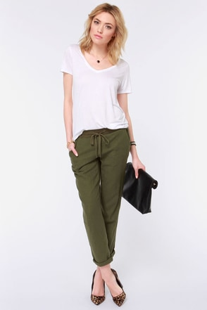 Roxy Ivy Olive Green Pants