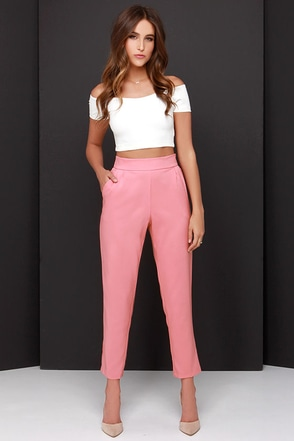 Trouser We Go Blush Pink High-Waisted Pants at Lulus.com!