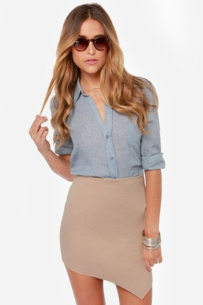 Breaking Point Asymmetrical Navy Blue Skirt