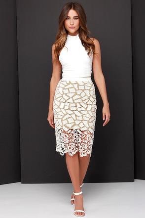Porcelain Heart Beige and Cream Lace Midi Skirt at Lulus.com!