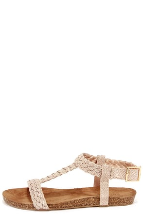Acropolis Gold Braided Ankle Strap Sandals at Lulus.com!