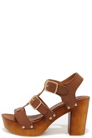 Enclosing Time Chestnut Brown High Heel Caged Sandals at Lulus.com!