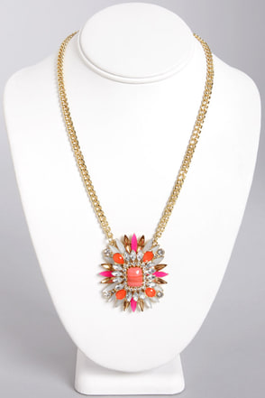 First Things Burst Coral Rhinestone Necklace