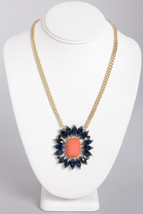 Go Fleur It Navy Blue Rhinestone Necklace