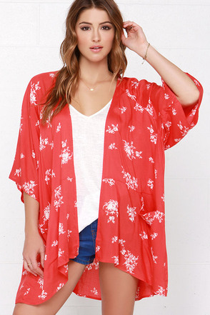 Billabong Shadow Play Cream and Red Orange Kimono at Lulus.com!