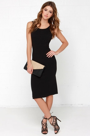 Simply Chic Black Midi Dress at Lulus.com!