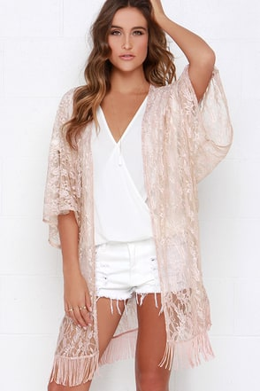 Primp and Proper Blush Lace Kimono Top at Lulus.com!