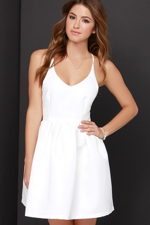Flare She Goes Ivory Dress at Lulus.com!