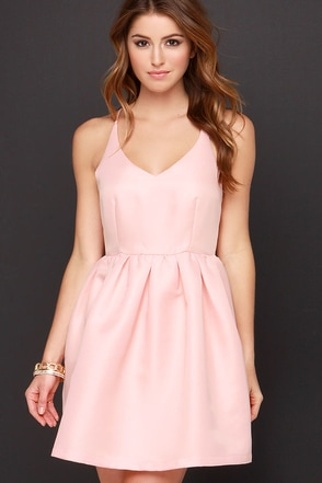 Flare She Goes Peach Dress at Lulus.com!