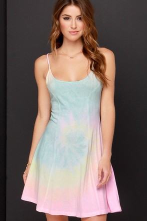 Billabong Same Name Pastel Tie-Dye Dress at Lulus.com!