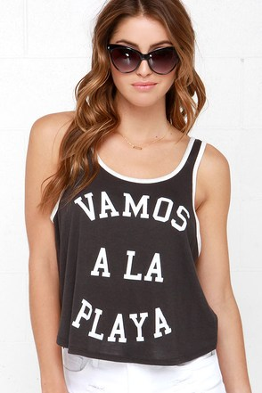 Billabong Vamos A La Playa Washed Black Tank Top at Lulus.com!