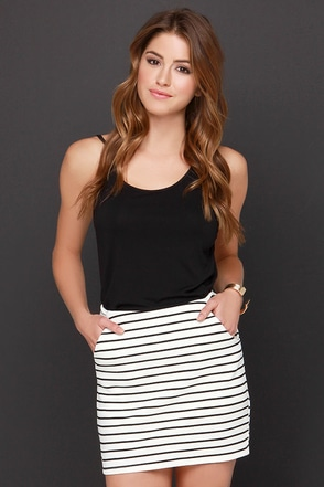 For Sienna Wait a Mini Black and Cream Striped Mini Skirt at Lulus.com!