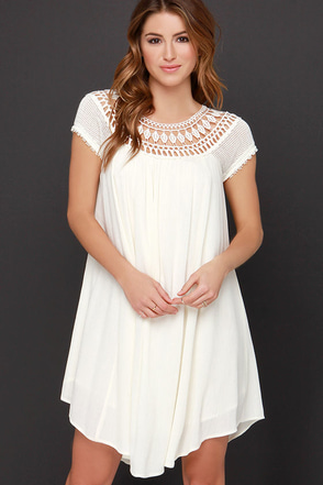 All Baby-Dolled Up Cream Lace Dress at Lulus.com!