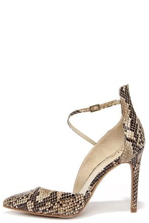 Mia Mona Beige Snake D'Orsay Heels at Lulus.com!