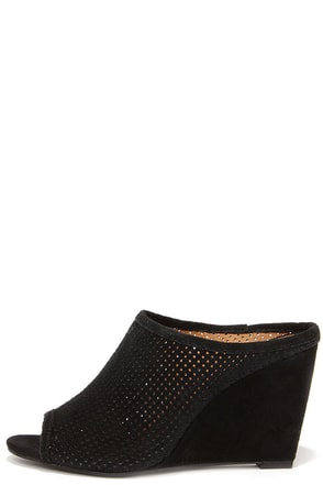 Seychelles Perfect Match Black Suede Leather Mule Wedges at Lulus.com!