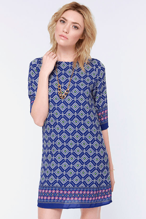 Prints Charming Blue Print Shift Dress at Lulus.com!