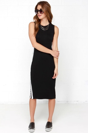 Speedy Daytona Black Midi Dress at Lulus.com!