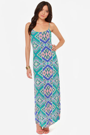 In Rad Shape Mint Print Maxi Dress