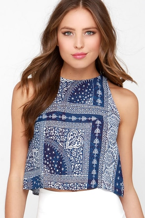 Sea to Shining Sea Ivory and Navy Blue Print Crop Top at Lulus.com!