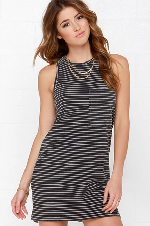 City in My Pocket Washed Black Striped Dress at Lulus.com!