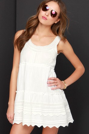 Billabong Hidden Bloom Ivory Crochet Dress at Lulus.com!
