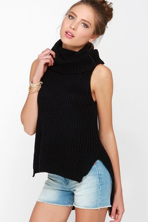 Madison Square Jaw Dropper Black Cowl Sweater Top at Lulus.com!