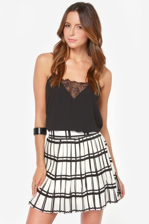 Dancing in the Pleats Black and Ivory Plaid Skirt