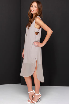 Move Your Body Light Taupe Sleeveless Shift Dress at Lulus.com!