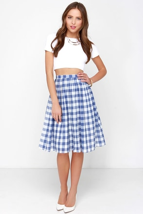 First Picnic Ivory and Blue Gingham Midi Skirt at Lulus.com!