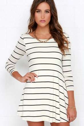 Swing Along Ivory and Taupe Striped Long Sleeve Dress at Lulus.com!