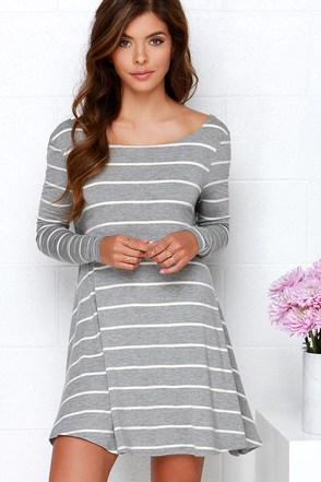 Swing Along Black and Ivory Striped Long Sleeve Dress at Lulus.com!