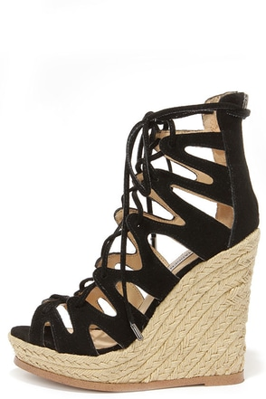 Steve Madden Theea Black Suede Leather Lace-Up Wedge Sandals at Lulus.com!