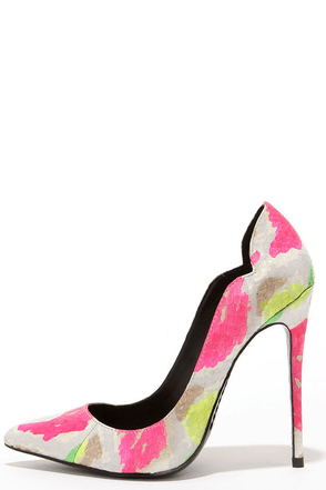 Lust for Life Kash White Multi Neon Snakeskin Pumps at Lulus.com!