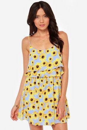 Basking in the Sunflower Print Dress