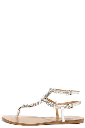 Report Signature Zoraa Silver Rhinestone Ankle Strap Sandals at Lulus.com!